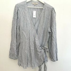 NWT Loft Size XL Long Sleeve Wrap Tie Shirt Women